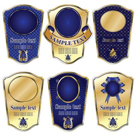 témata: vector set: gold-framed labels on different topics
