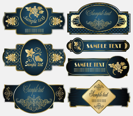 vector set: gold-framed labels on different topics Фото со стока - 5958789
