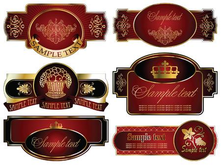 topics: vector set: gold-framed labels on different topics