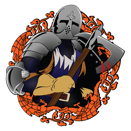 Illustration of the medieval knight swinging a axe Vector