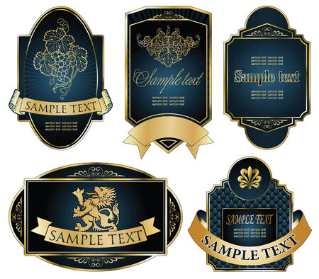 vector set: gold-framed labels on different topics Фото со стока - 5995335