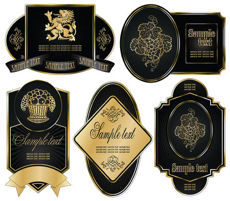 vector set: gold-framed labels on different topics Фото со стока - 5995333