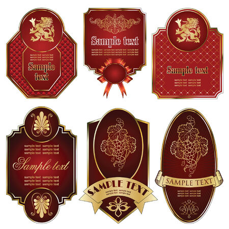 vector set: gold-framed labels on different topics Stock Vector - 5995337