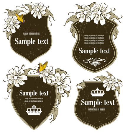 antique-framed labels with flowers on different topics Vector