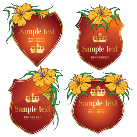 gold-framed labels with flowers on different topics  Vector