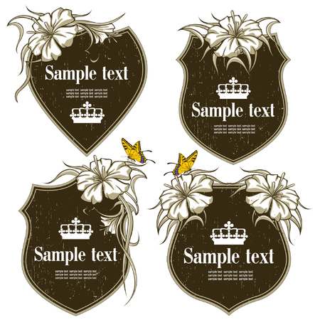topics: antique-framed labels with flowers on different topics