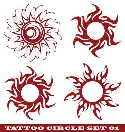 vector set: templates for tattoo and design in the form of the sun on different topics Фото со стока - 6079717