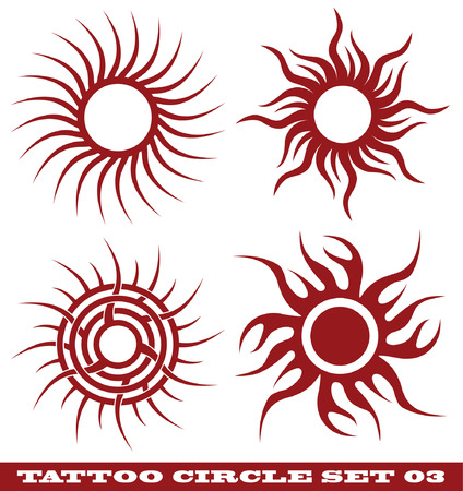 vector set: templates for tattoo and design in the form of the sun on different topics  Ilustração