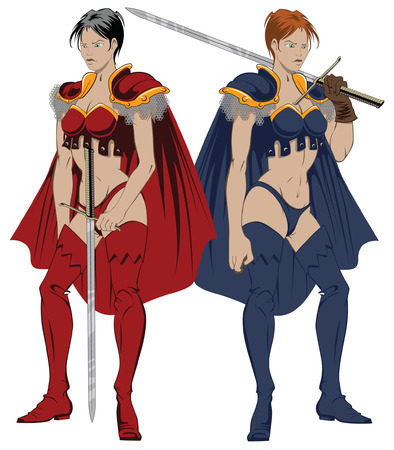 Illustration of the fantasy amazons with sword Vector