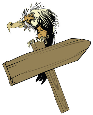 vector illustration: vulture, sitting on a wooden pointer