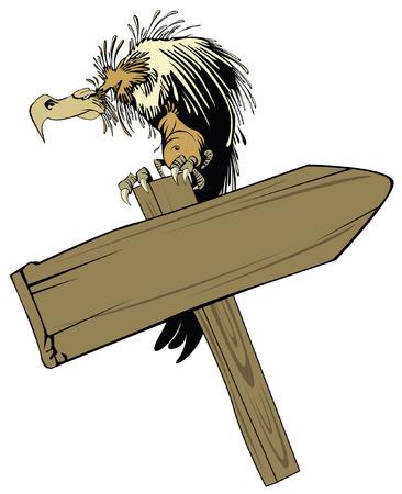 vulture: vector illustration: vulture, sitting on a wooden pointer