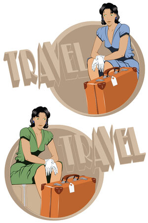 depart: Template for design of a theme of travel - the girl on suitcases