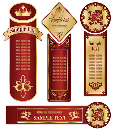 the topics: vector set: gold-framed labels on different topics