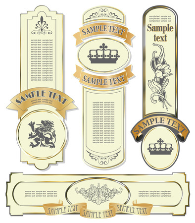 vector set: gold-framed labels on different topics