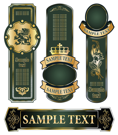 vector set: gold-framed labels on different topics Stock Vector - 6116480