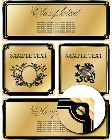 vector set: gold-framed labels on different topics  Vector