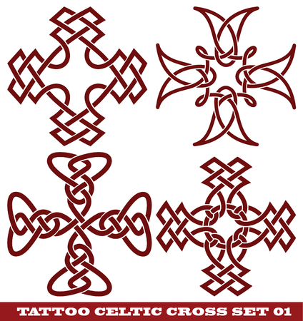 vector set: templates for tattoo and design in the form of the celtic cross on different topics  Vector