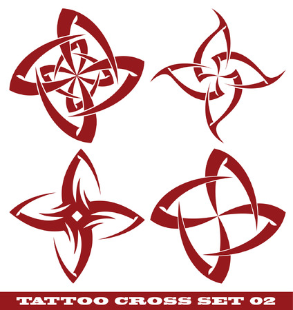 témata: vector set: templates for tattoo and design in the form of the cross on different topics
