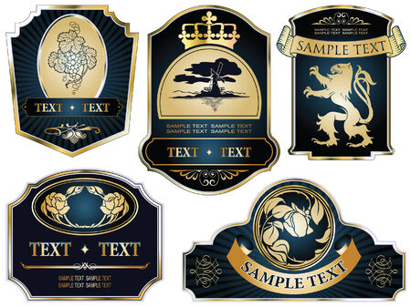 set: gold-framed labels on different topics