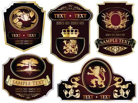 wappen: festlegen: Gold-framed Etiketten zu verschiedenen Themen