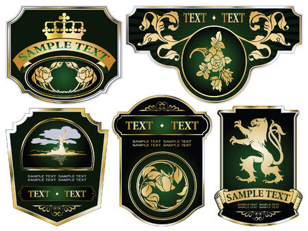set: gold-framed labels on different topics Фото со стока - 6166174