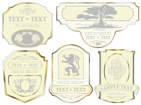 set: gold-framed labels on different topics  Vector