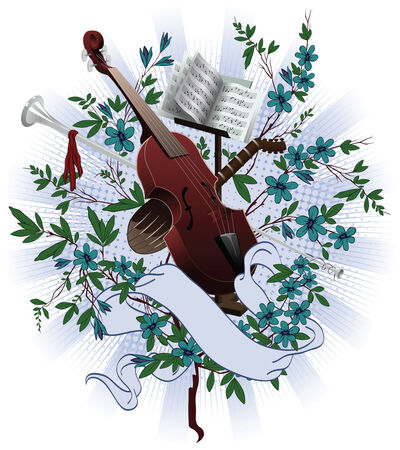 melodist: Musical instruments at the background of flowers, intertwined ribbon Illustration