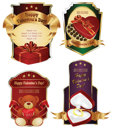 Vector background: Valentin`s Day label and card with gifts for the holiday Vector
