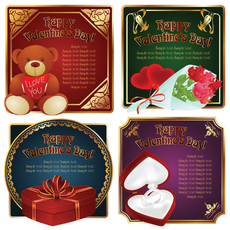 alcohol cardboard: Vector background: Valentin`s Day label and card with gifts for the holiday