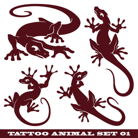 témata: vector set: templates animals for tattoo and design on different topics