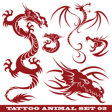 témata: vector set: templates dragons for tattoo and design on different topics