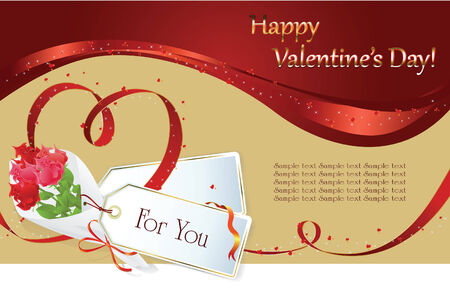 background: Valentin`s Day label and card with gifts for the holiday Stock Vector - 6298511