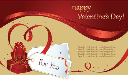 background: Valentin`s Day label and card with gifts for the holiday Vector