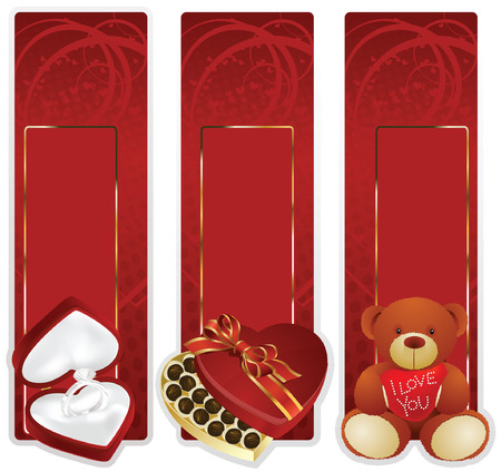 background: Valentin`s Day label and card with gifts for the holiday Stock Vector - 6298519