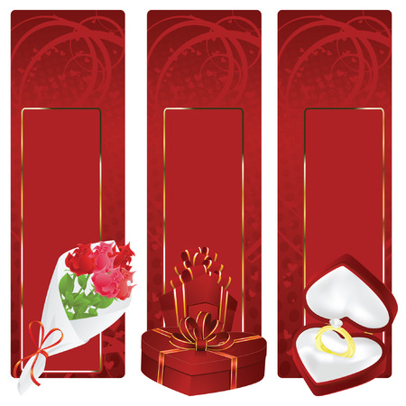 background: Valentin`s Day label and card with gifts for the holiday Stock Vector - 6298516