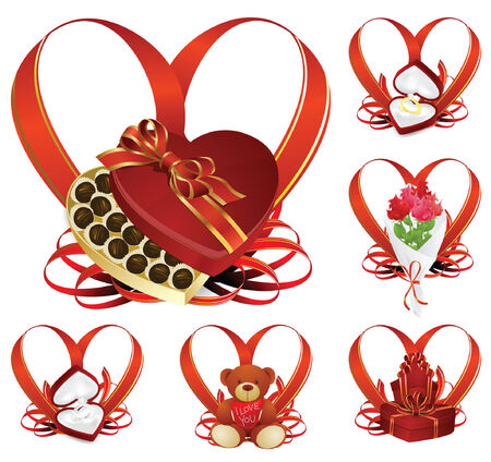 Valentin`s Day icon with gifts for the holiday Vector