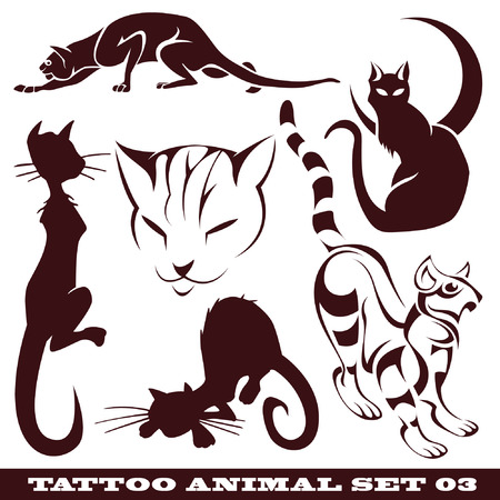 vector set: templates animal for tattoo and design on different topics  Vector