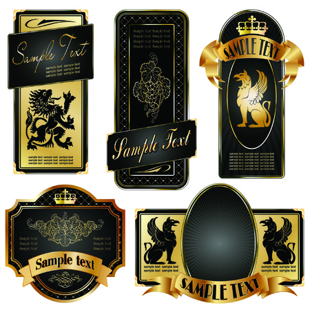 vector set: gold-framed labels on different topics Ilustração