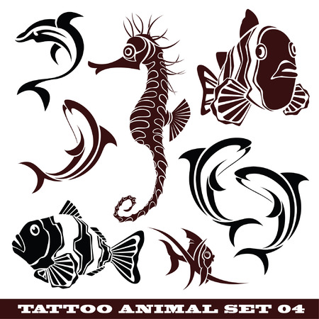 témata: vector set: templates fish for tattoo and design on different topics