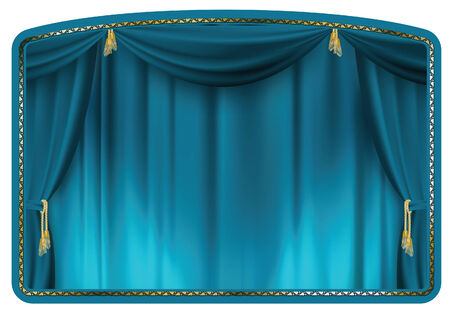 gold house: theater curtain blue tied with gold tassels