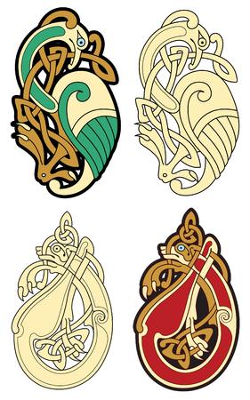 Résumé des couleurs celtiques conception ?uvres - motifs zoomorph Vecteurs