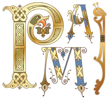 capitals and initials of the ancient manuscripts Vector