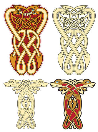 gaelic: abstract celtic color design works - zoomorph motifs