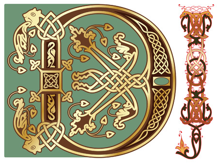 capitals and initials of the ancient manuscripts Vector