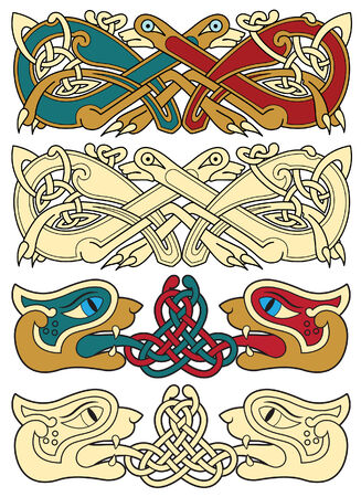 paganism: abstract celtic color design works - zoomorph motifs