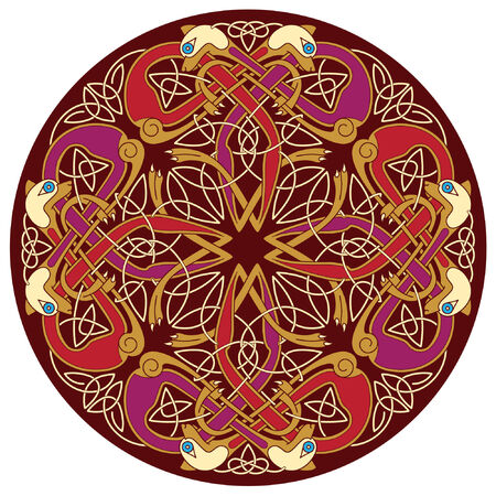 abstract celtic color design works - zoomorph motifs Stock Vector - 6608526