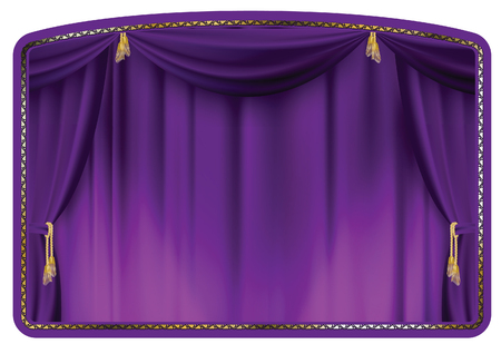 window curtains: theater curtain purple tied with gold tassels