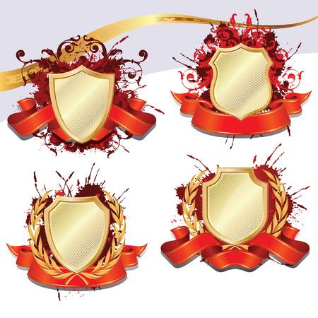 Ensemble de bouclier héraldique en or pour la décoration et le design