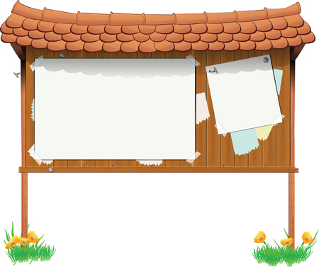 wooden bulletin signboard with a false ads Vector