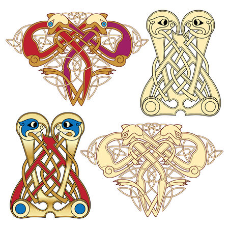abstract celtic color design works - zoomorph motifs Stock Vector - 6661800